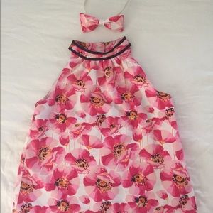 JANIE AND JACK GIRLS FLORAL TOP SZ 6 AND HEADBAND